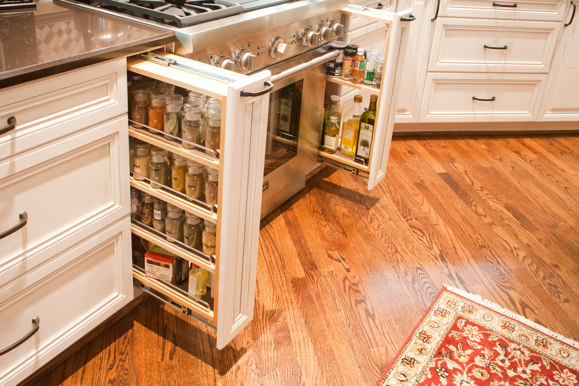 white cabinets pull out spice storage | Buy Cabinets Online ...
