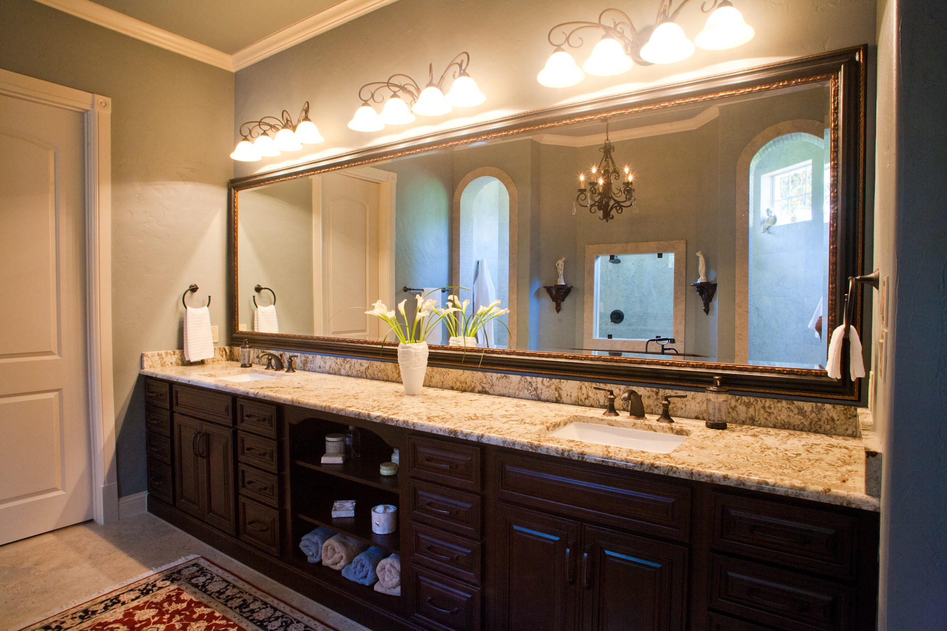 Double vanity bath cabinets with open cubby buy cabinets for Bathroom cabinets online