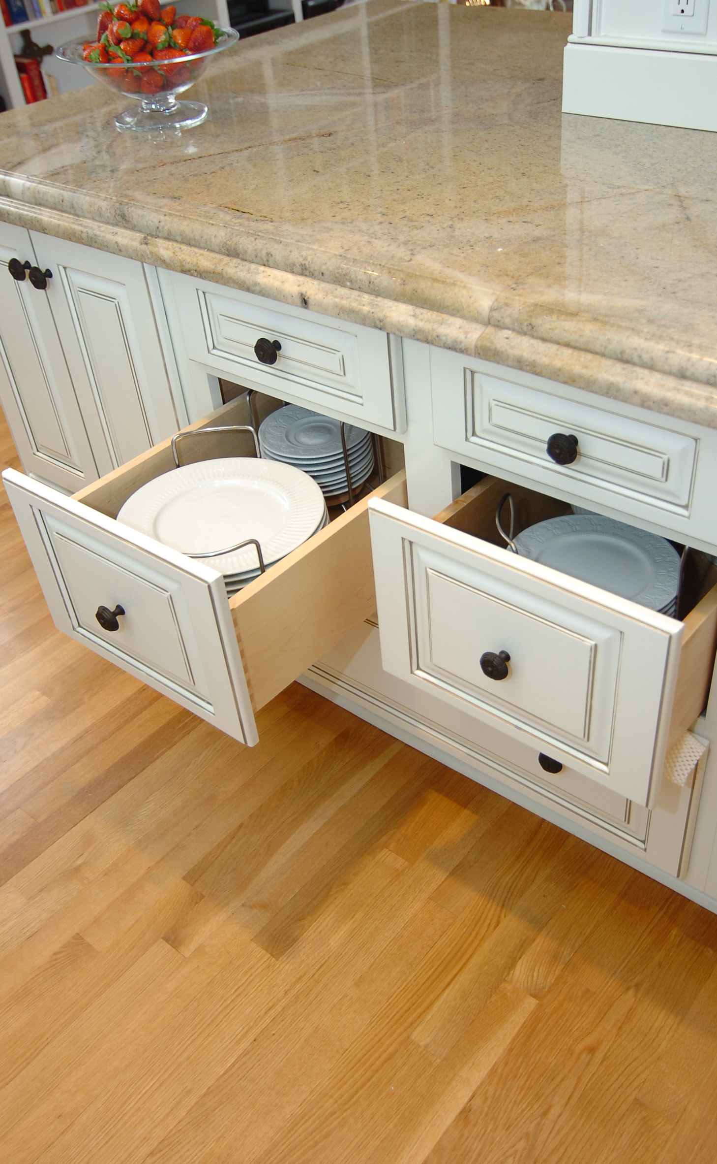Painted Kitchen Cabinets With Plate Storage In Drawers
