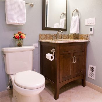 powder bath maple furniture vanity coffee stain